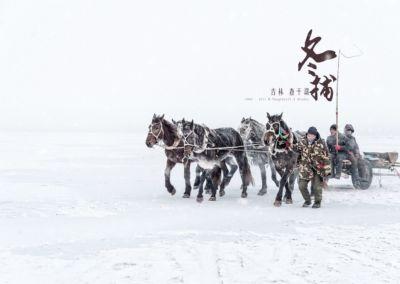 吉林-查干湖冬補-漁人與馬